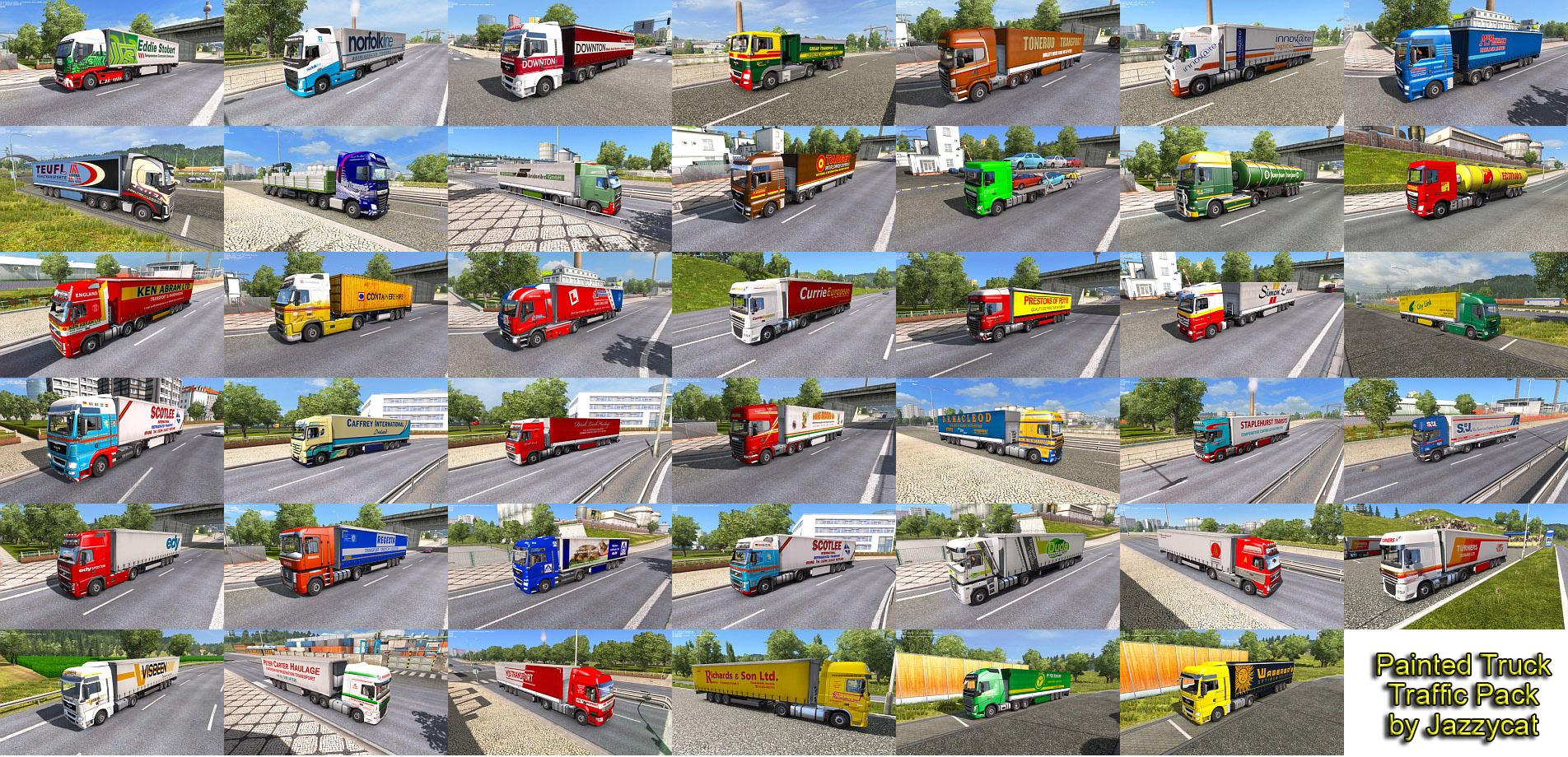 Painted Truck Traffic Pack By Jazzycat V2 1 Ets 2 Euro