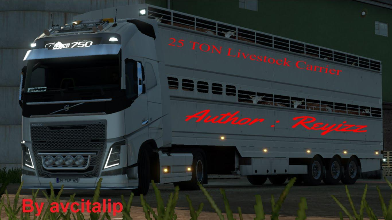 25 ton livestock carrier trailer mod ets2 euro truck