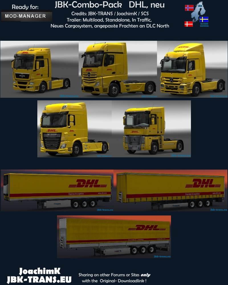 JBK – DHL NEW COMBO PACK Skins -Euro Truck Simulator 2 Mods