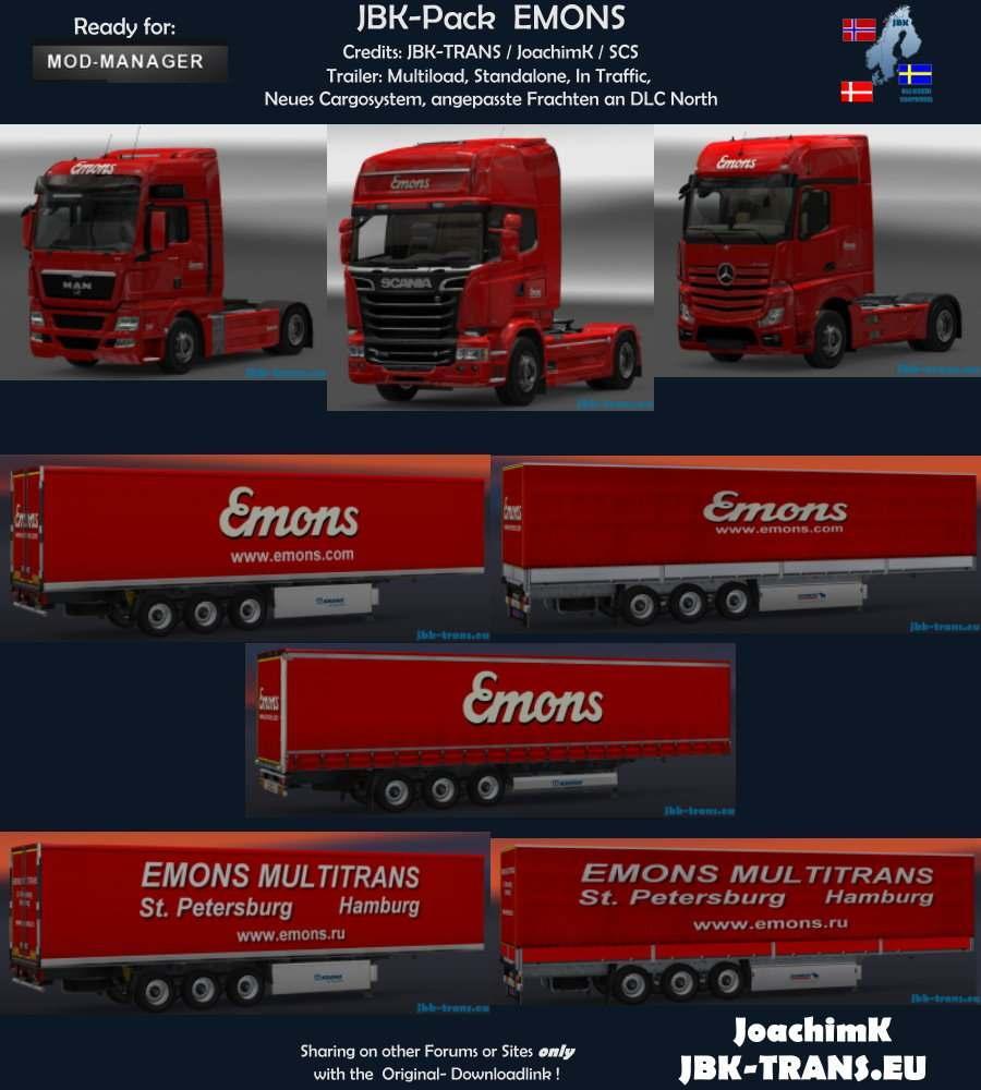 JBK-COMBO-PACK EMONS V1 Trailer -Euro Truck Simulator 2 Mods