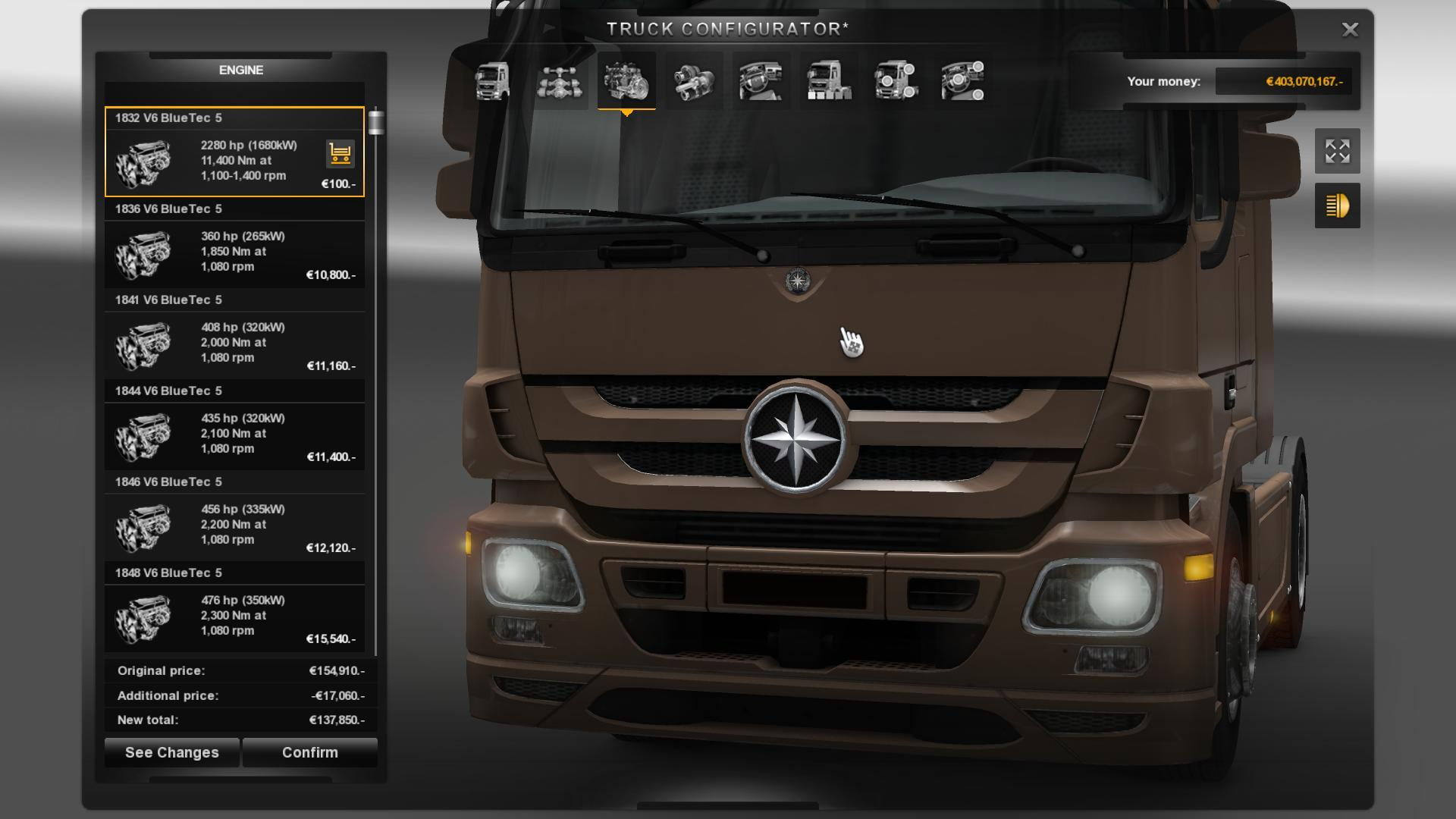 MERCEDES 2280 HP ENGINE ETS 2 -Euro Truck Simulator 2 Mods