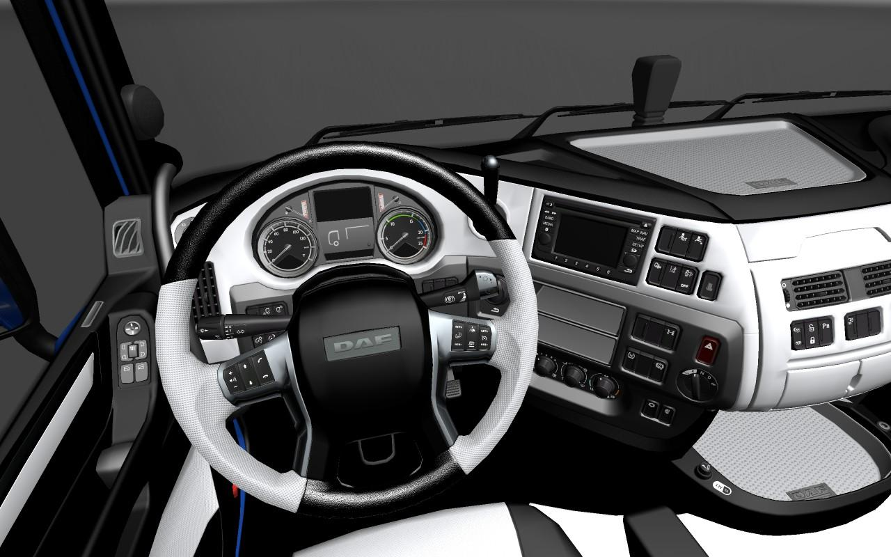 Daf euro6 black and white interior mod euro truck for Interior design simulator