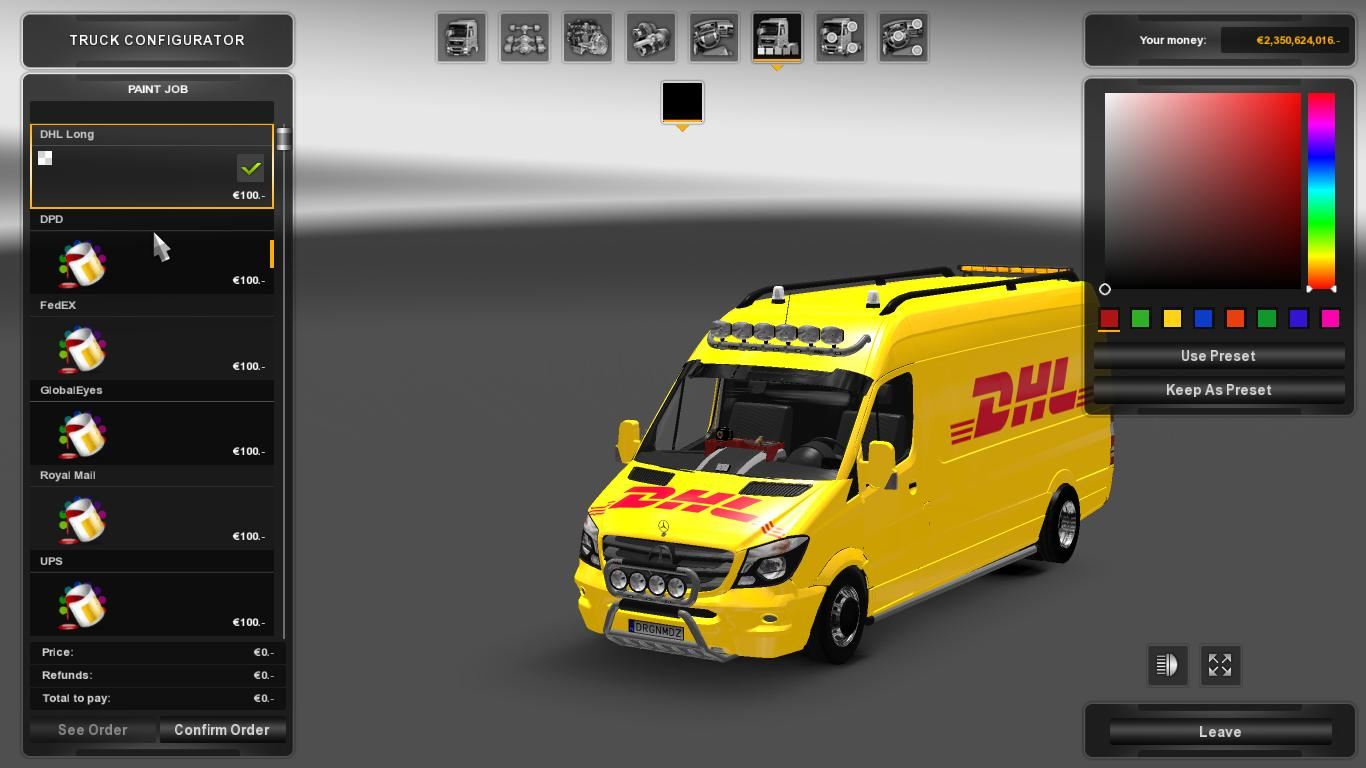 mercedes sprinter long 2015 skinpack ets2 euro truck