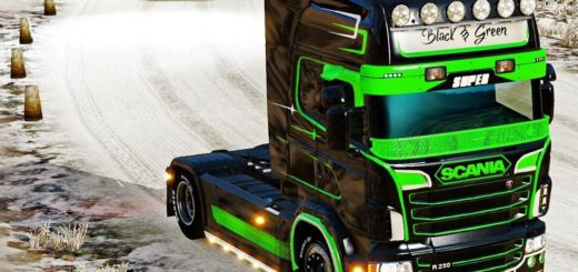 Skin for scania r700 ets2 euro truck simulator 2 mods for Dark green paint job