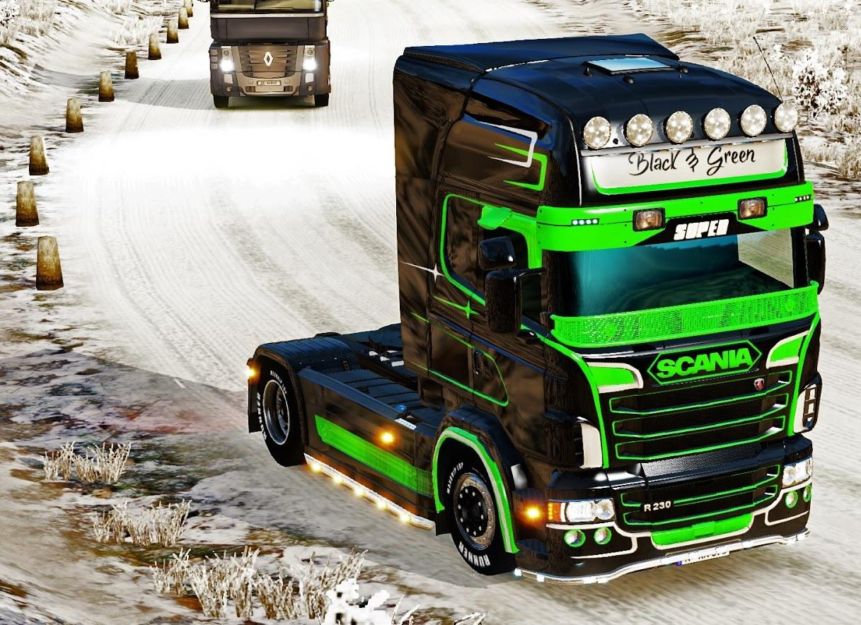 Black green extreme paint job for scania rjl ets2 euro for Car paint simulator