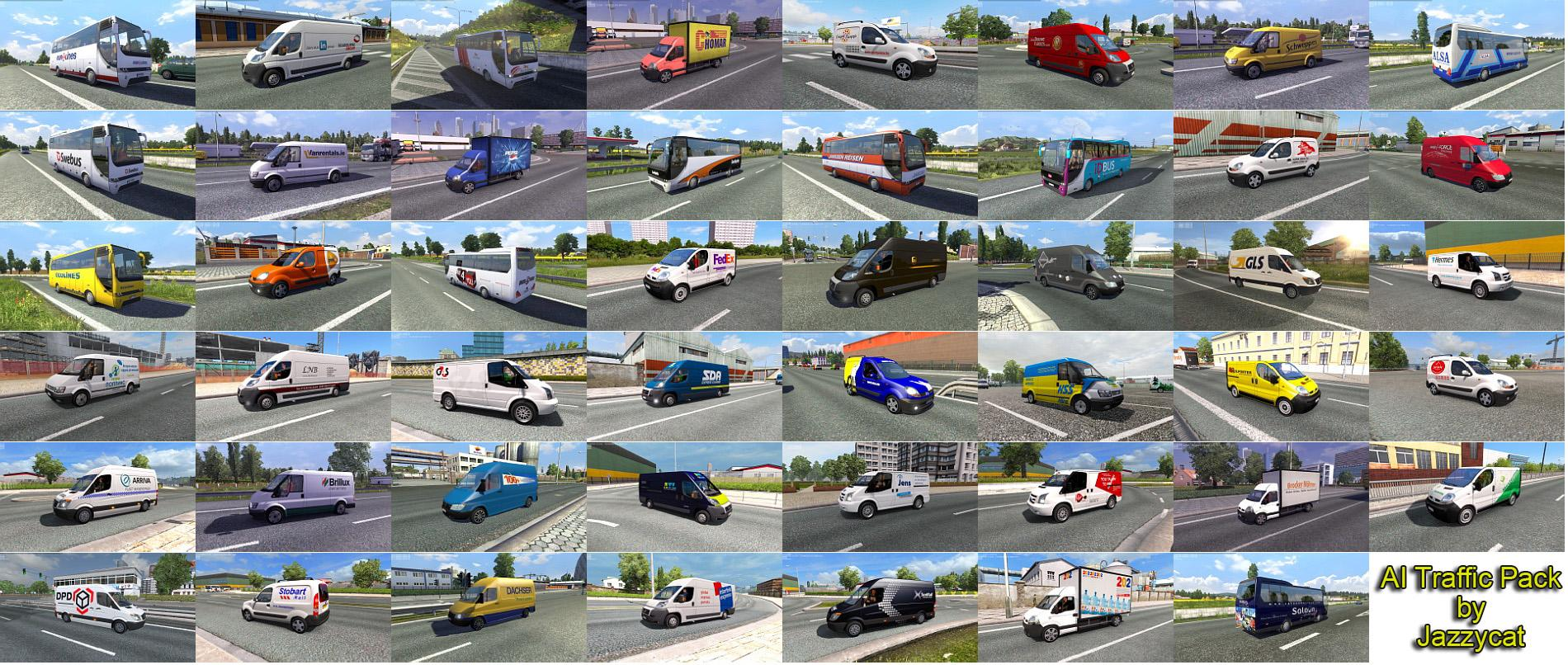 AI TRAFFIC PACK BY JAZZYCAT V3 5 For ETS2 -Euro Truck