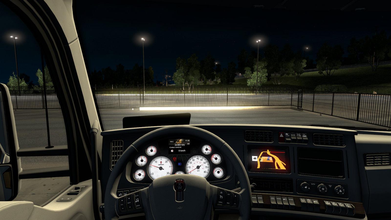 kenworth t680 white gauges truck interior v1 2 for ats euro truck simulator 2 mods. Black Bedroom Furniture Sets. Home Design Ideas