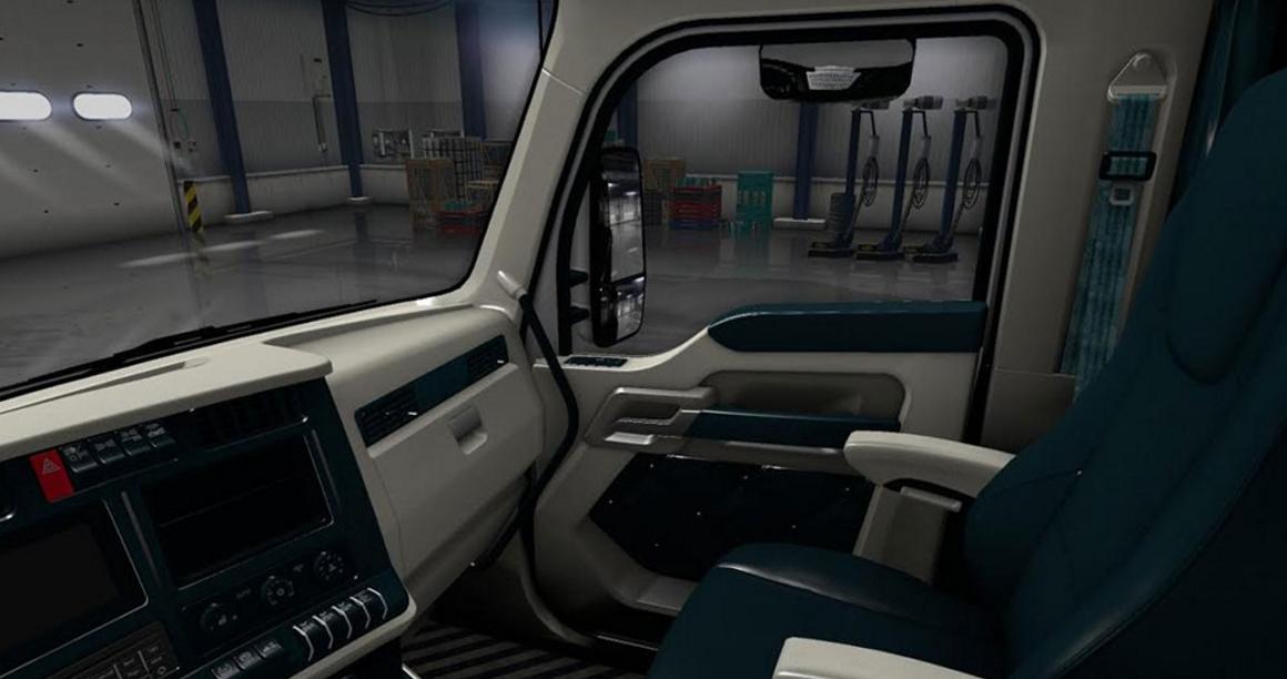 kenworth t680 white teal interior ats euro truck simulator 2 mods. Black Bedroom Furniture Sets. Home Design Ideas