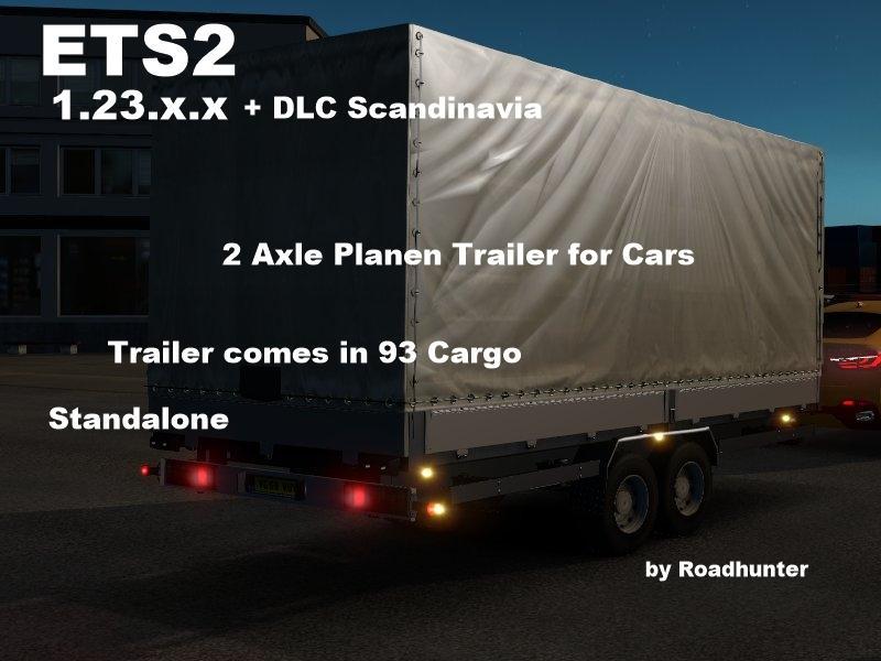 2 AXLES PLANEN TRAILER FOR CARS ETS2 -Euro Truck Simulator 2 Mods