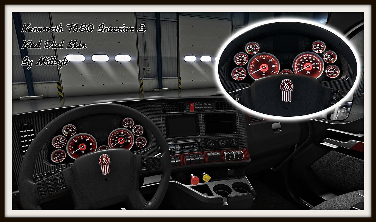 Kenworth T680 Interior Red Dial Skin Mod Euro Truck Simulator 2 Mods