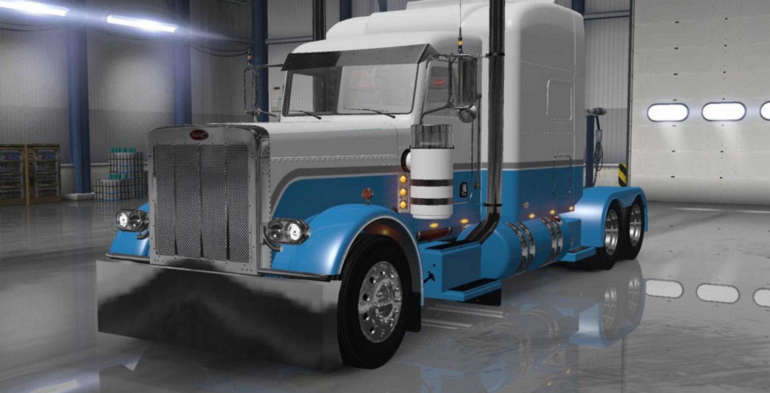 Peterbilt 389 Baby Blue And White Mod Mod Euro Truck Simulator 2 Mods American Truck Simulator Mods