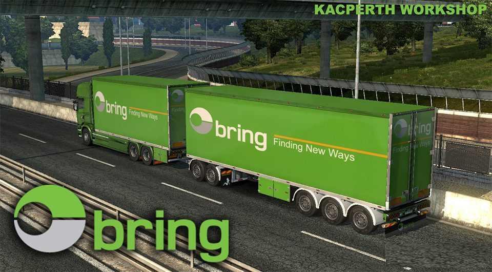 BRING LOGISTICS TANDEM SKIN V1 28 TRAILER MOD -Euro Truck Simulator