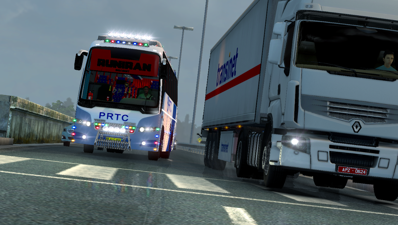 PRTC Skin for Volvo b9r (Indian bus) mod -Euro Truck