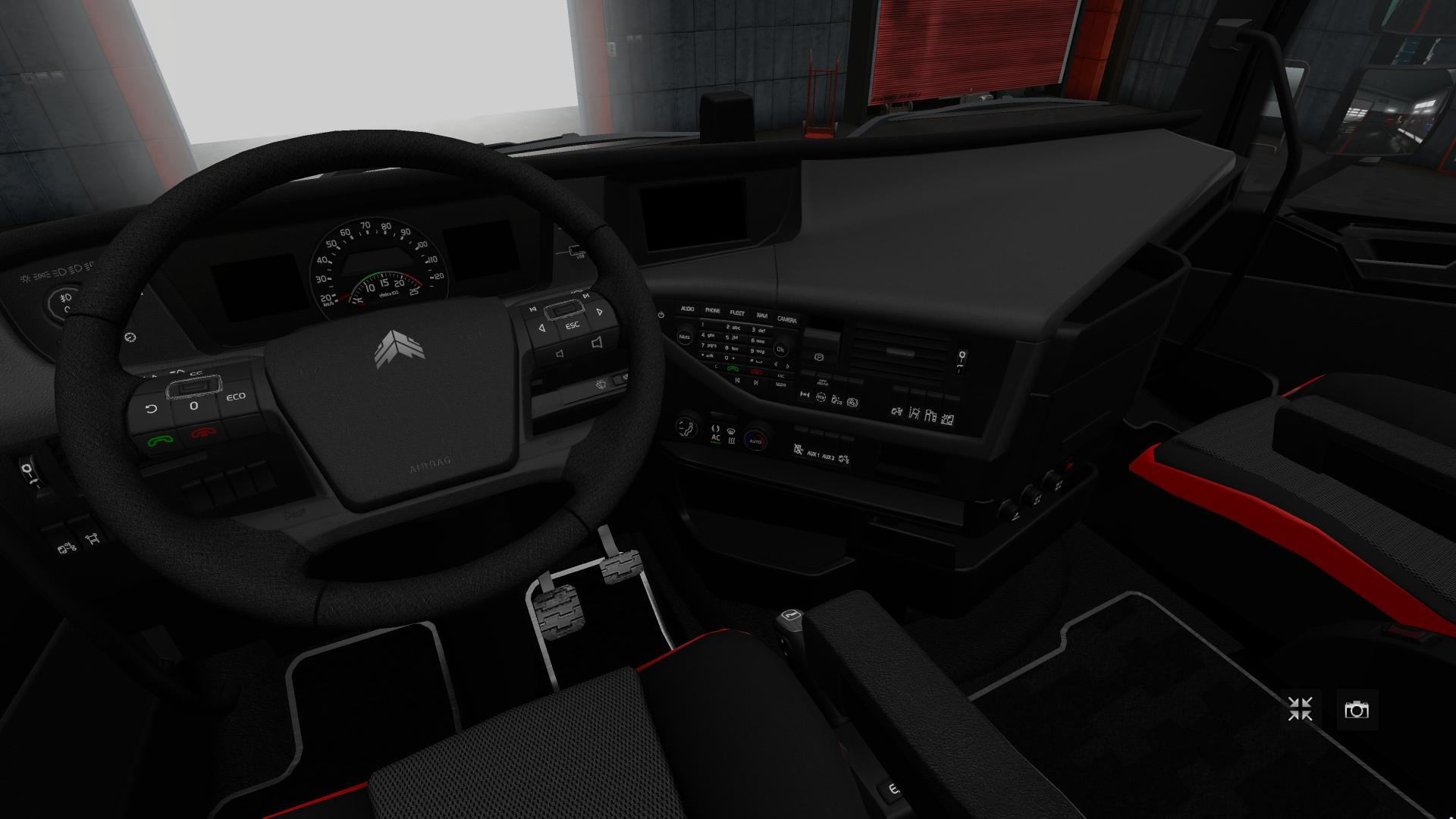 Interior: VOLVO FH16 2012 BLACK RED MOD V1.3 1.28 INTERIOR -Euro