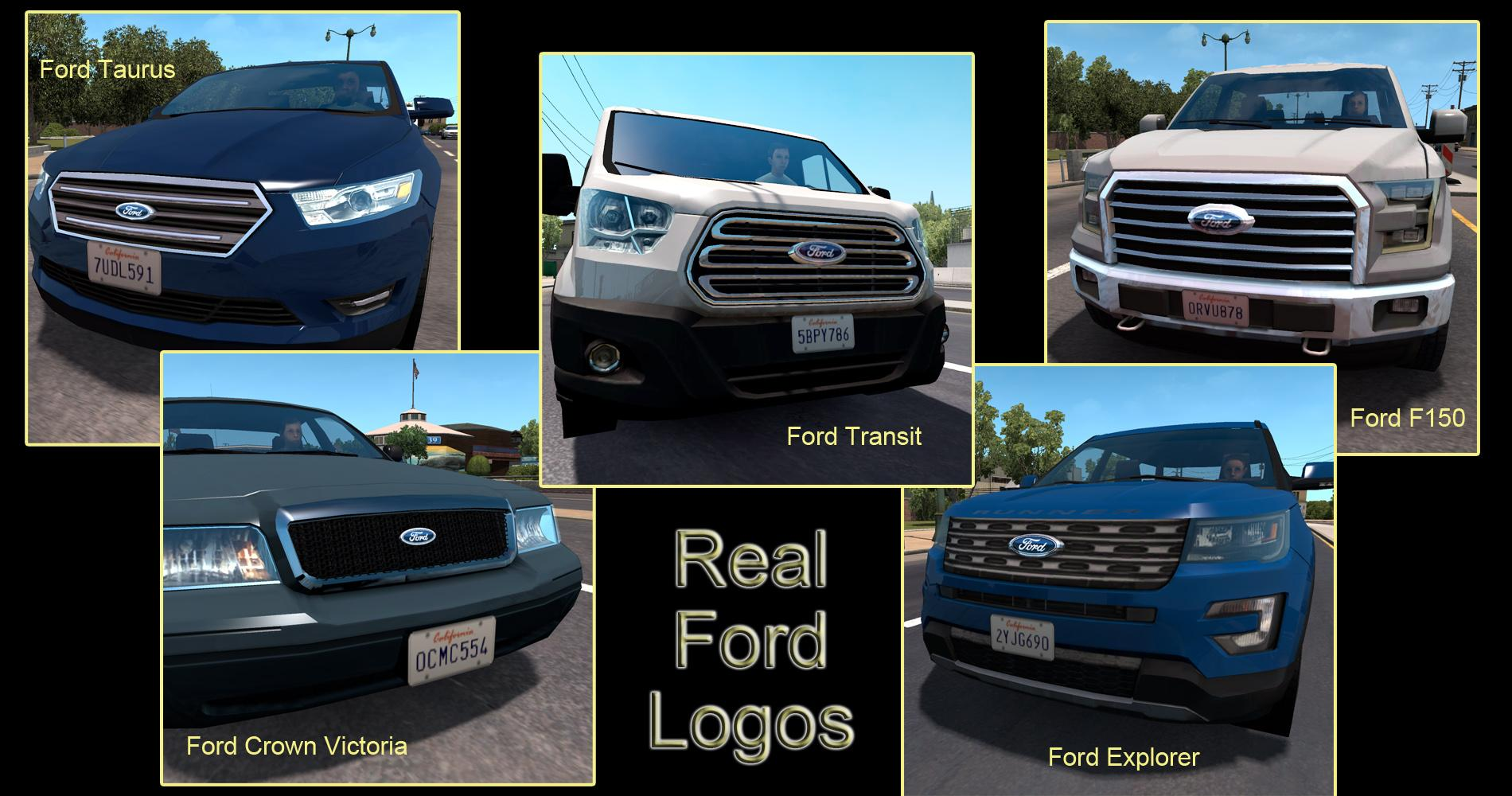 REAL LOGOS FOR DEFAULT FORD AI TRAFFIC CARS Mod -Euro Truck