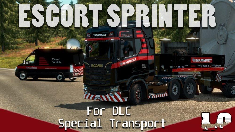 ESCORT MERCEDES BENZ SPRINTER DLC SPECIAL TRANSPORT V1.0