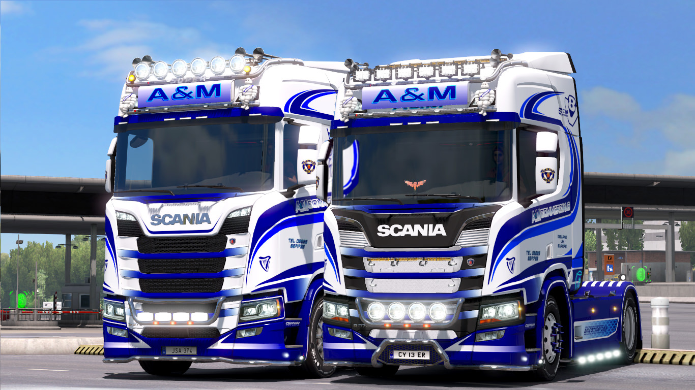 a m commercials paintjobs for scania r and s euro truck simulator 2 mods. Black Bedroom Furniture Sets. Home Design Ideas