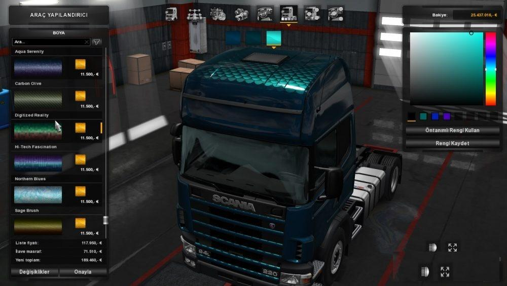 Rjl trucks for metallic paint job dlc v1 0 ets2 euro for Car paint simulator