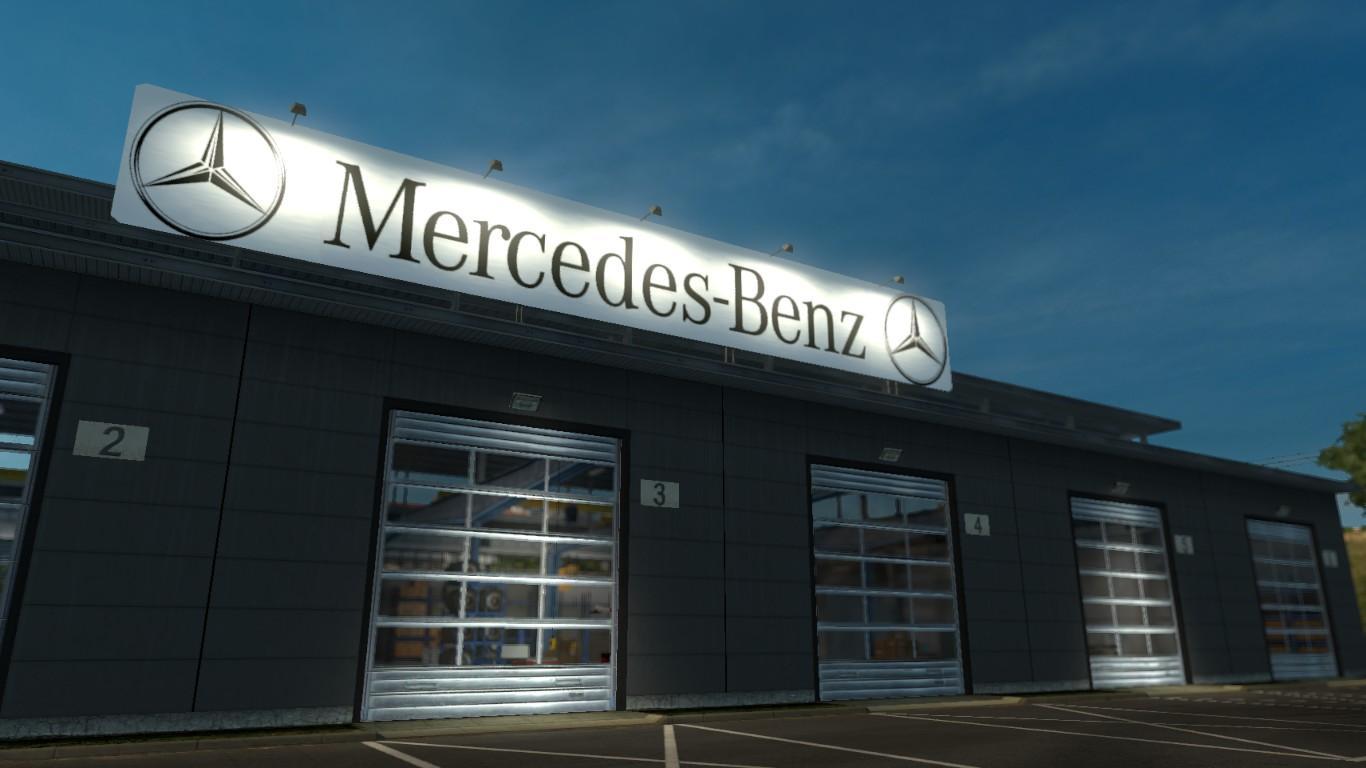 Mercedes benz garage v1 0 mod euro truck simulator 2 mods for Mercedes benz garages