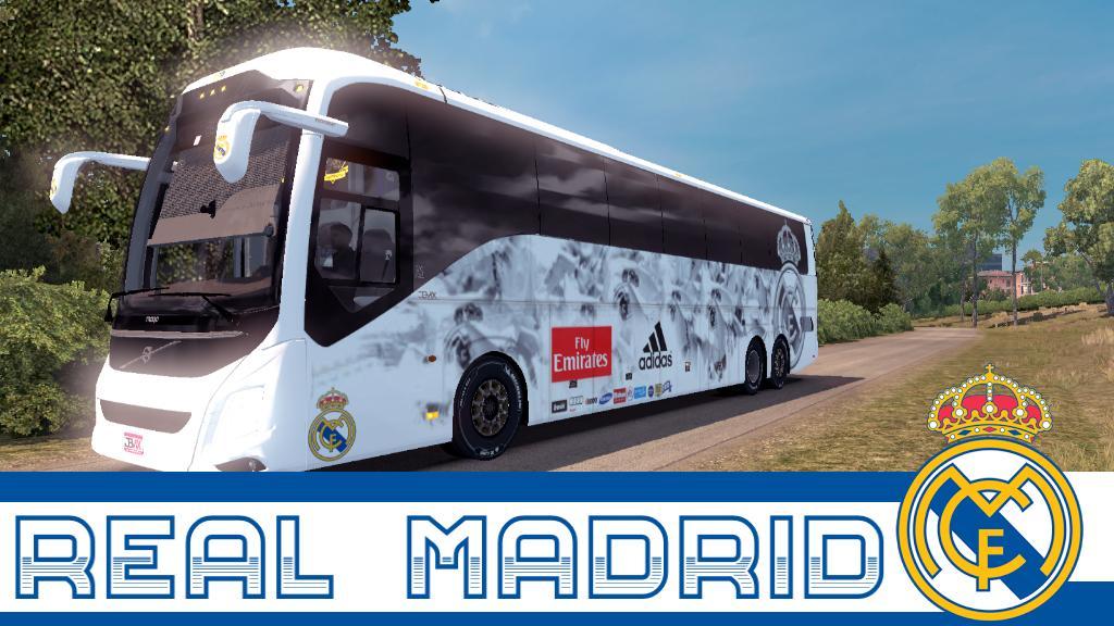 VOLVO 9800 BUS REAL MADRID SKIN V1 30 BUS MOD -Euro Truck