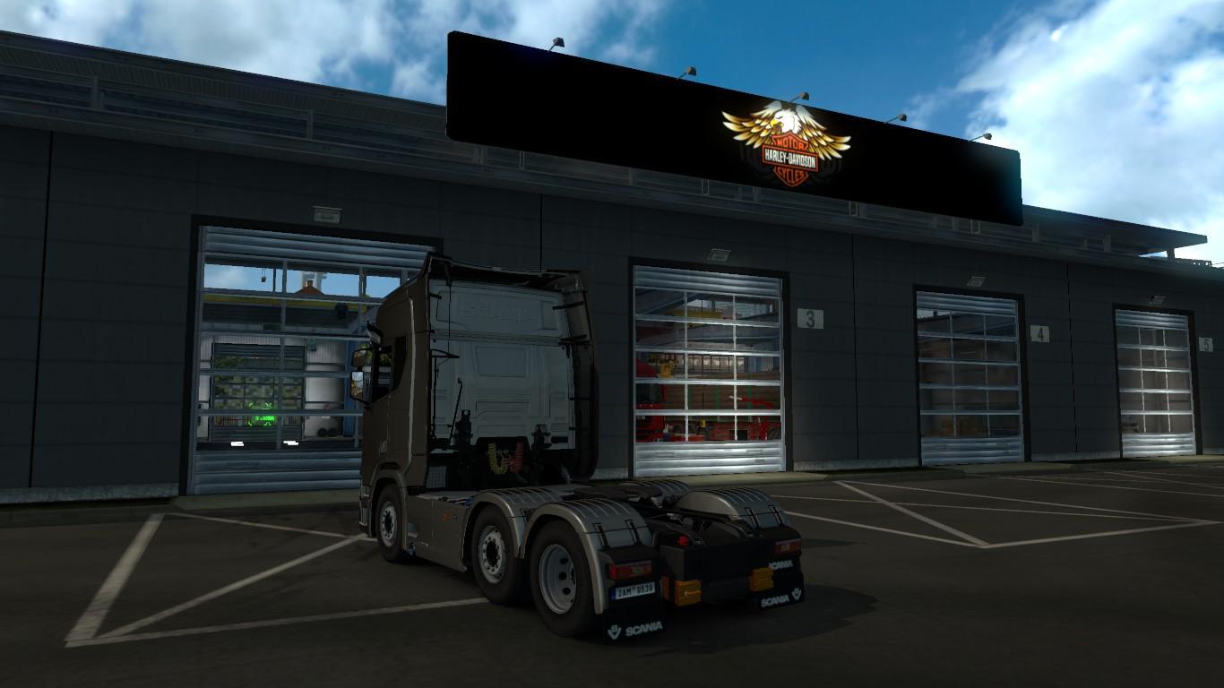 Harley davidson garage logo board v1 0 mod euro truck for Garage mercedes gap