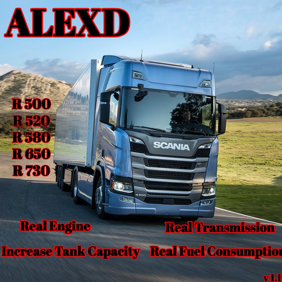 ALEXD SCANIA R REAL ENGINE AND TRANSMISSION V1 1 TUNING MOD -Euro